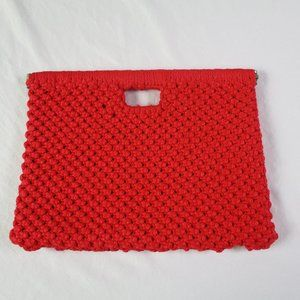 VTG Macrame Clutch Red Woven Frame Bag
